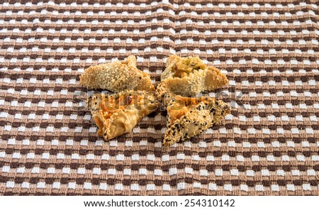 Hamantaschen cookies with potato for Purim holidays. - stock photo