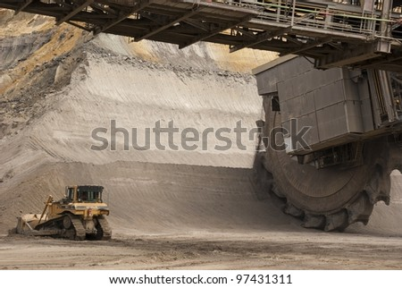 HAMBACH, GERMANY - SEPTEMBER 1: A shovel and a very large bucket-wheel excavators digging for lignite (brown-coal) in of the world's deepest open-pit mines in Hambach on September 1, 2010. - stock photo