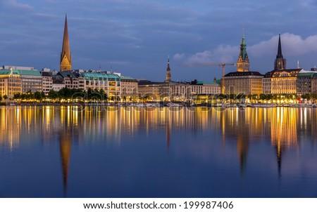 Hamburg city center over the lake - stock photo