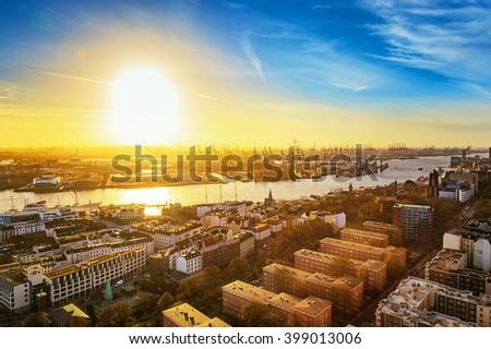 Hamburg cityscape - stock photo