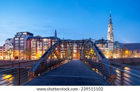 Hamburg cityscape at night view from Speicherstadt - stock photo