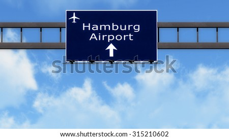 Hamburg Germany Airport Highway Road Sign 3D Illustration