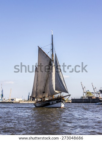 HAMBURG, GERMANY - APRIL 19, 2015: A historic sailboat in the harbor of Hamburg, Germany
