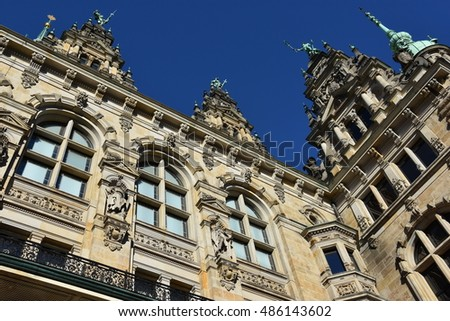 HAMBURG, GERMANY - AUG 25: Hamburg Rathaus (City Town hall) in Germany, as seen on Aug 25, 2016. It is the seat of the government of Hamburg and the seat of one of Germanys 16 state parliaments.