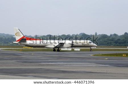 HAMBURG, GERMANY - CIRCA JUNE 2016: Ground handling operations before flight, circa June 2016 in Hamburg - stock photo