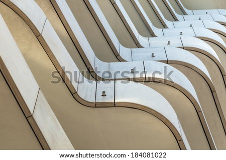 HAMBURG, GERMANY - MARCH 08: detail of the Marco Polo Tower on March 08, 2014 in Hamburg. The residential tower was designed by Behnisch architects and gained 2011 the architecture award concrete.