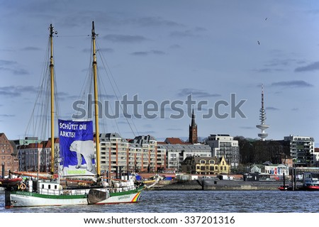 HAMBURG, GERMANY -  22 MARCH 2015: Sailing ship Beluga II (Greenpeace) on Elbe river.