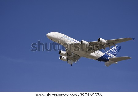HAMBURG, GERMANY -20 March 2016- The A380, the largest airplane from Airbus - stock photo