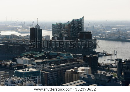 HAMBURG, GERMANY - 19 MARCH 2015: view of the Hanseatic Trade Center and concert hall Elbphilharmonie from the St. Michaelis Church tower