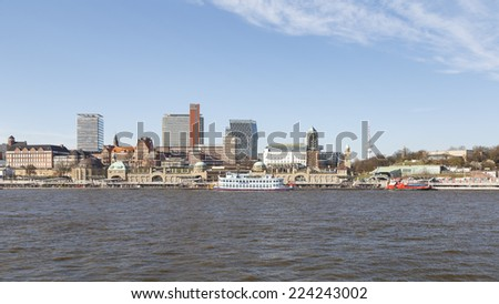 HAMBURG, GERMANY - MARCH 20, 2014: View of the historic harbor at the Landungsbrucken in Hamburg, Germany on March 20, 2014.