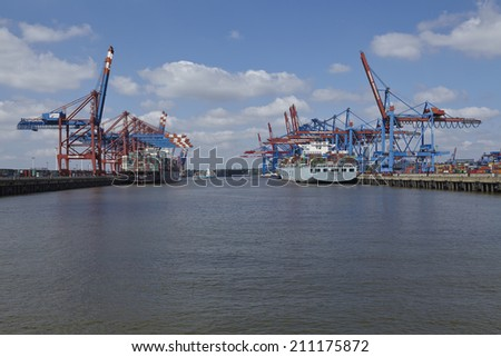 HAMBURG, GERMANY - MAY, 17. The container vessels Cosco Beijing and ZIM Los Angeles are loaded/unloaded at the container terminals Burchardkai and Eurogate in Hamburg-Waltershof on May 17, 2014.