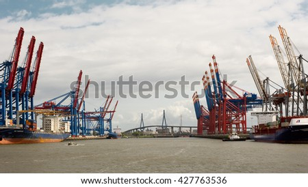 Hamburg, Germany, - May 14, 2016, View on the empty container terminal Eurogate and Burhardkai in Hamburg port with Koehlbrand Bridge in the Background