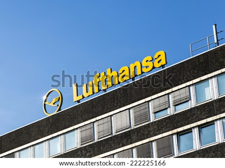 HAMBURG, GERMANY - SEP 18, 2014: the logo of the brand Lufthansa in Hamburg, Germany. Lufthansa has more than Employees  120 tsd employees worldwide.