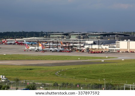 HAMBURG, GERMANY - SEPTEMBER 2: Overview of Hamburg International Airport (HAM) on September 2, 2015 in Hamburg, Germany. Hamburg Airport is the fifth busiest and oldest airport in Germany.