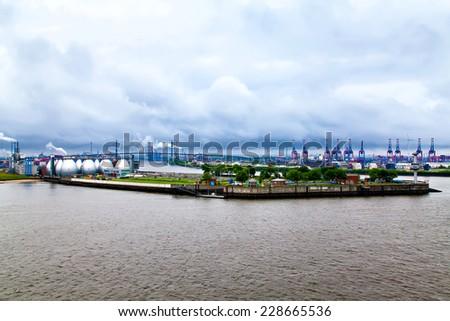 Hamburg Harbor, view from river Elbe - stock photo