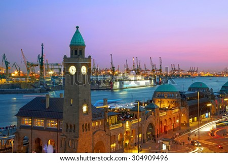 Hamburg harbour after sunset, Germany - stock photo