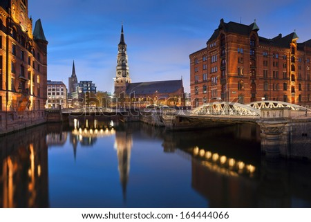 Hamburg- Speicherstadt. Image of Hamburg- Speicherstadt during twilight blue hour.