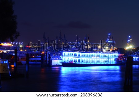Hamburg the beautiful town in the north of Germany - Impressions of the Blue Port - Hamburg 2014 -  View over the river Elbe into the city of Hamburg - stock photo