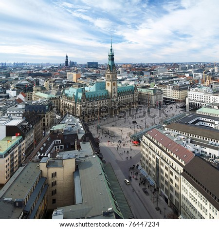 Hamburg, view of City Hall and the city panorama, Germany