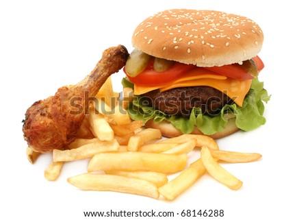 hamburger and chicken - stock photo