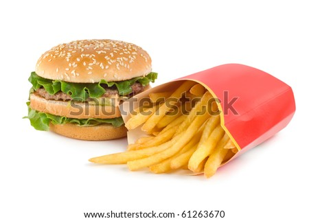 Hamburger and french fries isolated on white background - stock photo