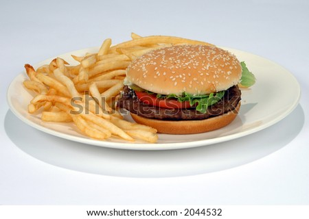 Hamburger and fries on a white background (With clipping Path) - stock photo