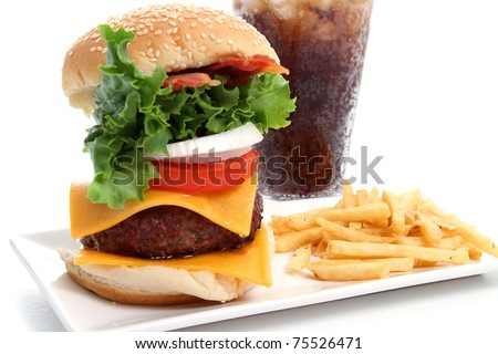 Hamburger and fries platter on white background - stock photo