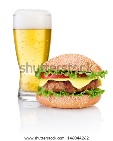 Hamburger and Glass of beer isolated on white background - stock photo