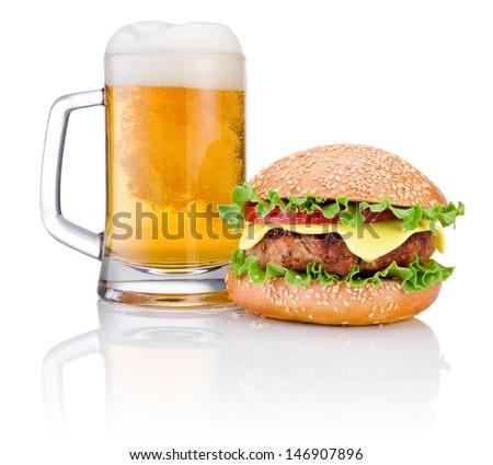 Hamburger and Mug of beer isolated on white background - stock photo