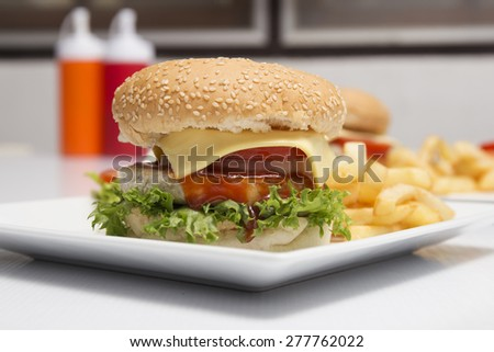 Hamburger beef ,french fries and vegetable salad on the Plate - stock photo