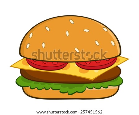Hamburger Cartoon Raster Illustration Isolated On White - stock photo