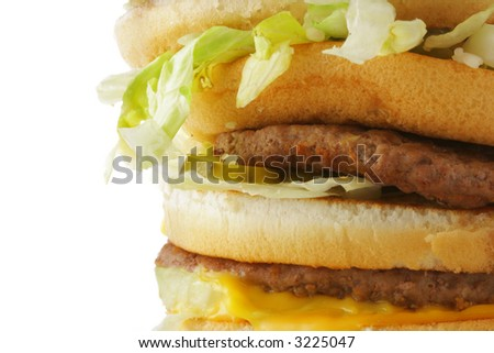 Hamburger close-up isolated over a white background