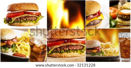 Hamburger collage with several burgers - stock photo