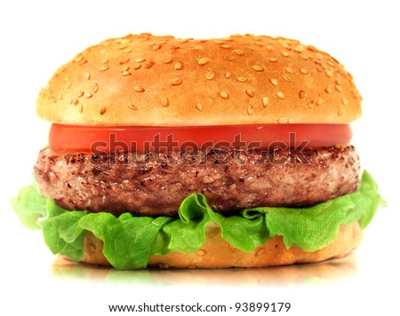 Hamburger. Hamburger on white background. Vintage Hamburger. Home made burger. Fastfood meal. Pub burger. Delicious Hamburger. Gourmet hamburger. Hamburger isolated. Rustic Hamburger, bun. - stock photo