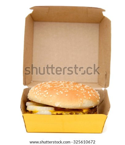 Hamburger in package isolated - stock photo