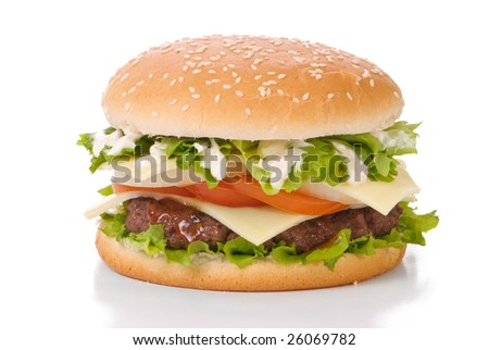 Hamburger in sesame seed bun with relish and mayonnaise on a white background