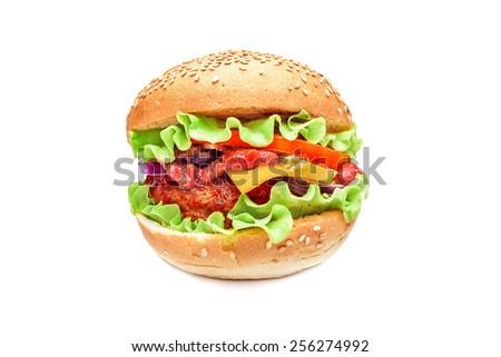 Hamburger isolated on white background.  Delicious burger. - stock photo