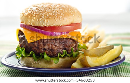 hamburger meal - stock photo