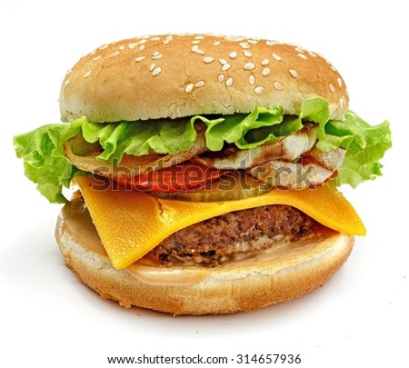 hamburger, sandwich with cheese, tomato, green salad, fried onions, meat patties and buns with sesame seeds on a white background - stock photo