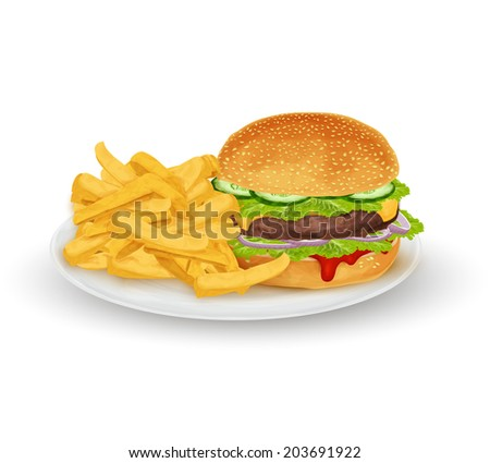 Hamburger sandwich with French fries on plate fast food isolated on white background  illustration