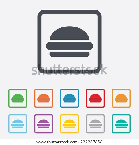 Hamburger sign icon. Fast food symbol. Junk food. Round squares buttons with frame. - stock photo
