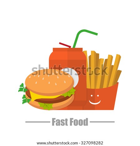 Hamburger water fries fast  food logo on a white background