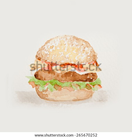 Hamburger watercolor isolated on white background - stock photo