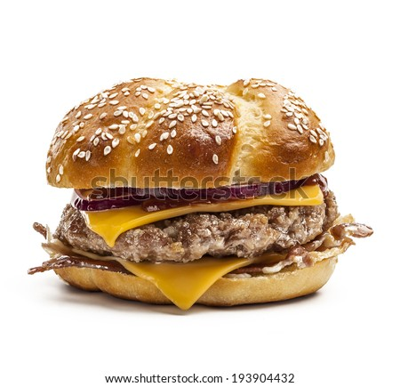Hamburger with bacon, cheese and red onion isolated on white background. - stock photo