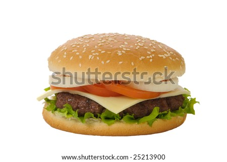 Hamburger with cheese isolated on a white background