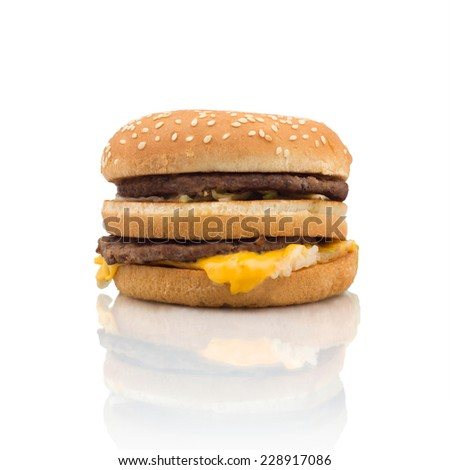 Hamburger with cheese leaking out