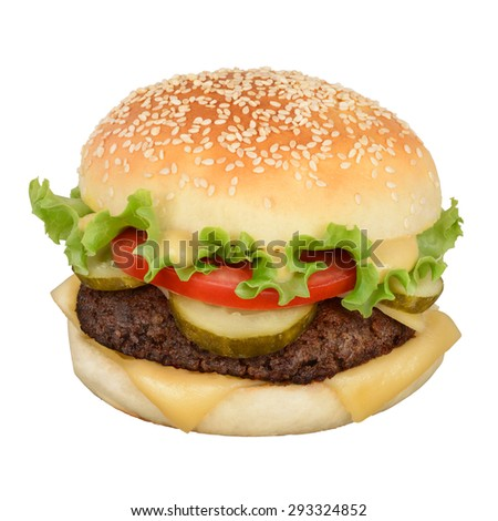 Hamburger with cheese, pickles and mustard isolated on white background. With clipping path