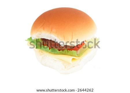Hamburger with cheese tomatoes and lettuce (Fat-Food)