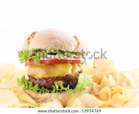 hamburger with chips isolated on white