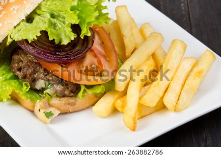Hamburger with fresh lettuce, tomato and fries on gray background - stock photo